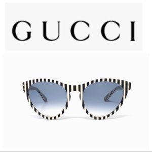 Gucci GG0569s Black &White Stripped Sunglasses NWT